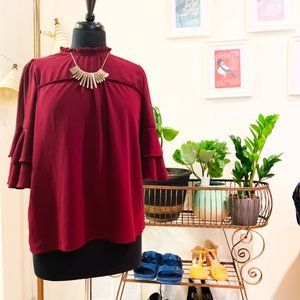 Monteau | Purple Ruffle Mock Neck Blouse